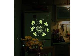 (7 Cupid Shoot Arrow to Hearts) - BIBITIME Glow in the Dark Wall Decals 7 Cupid Shoot Arrow to Hearts Luminous Stickers Home Kid Room Decor for Baby Nursery Bedroom