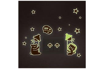 (Bear Cat Switch Off) - BIBITIME DIY Glow in the Dark Cartoon Bear Cat Switch Sticker with Arrow mark Luminous Wall Decals for Nursery Kids Baby's Bedroom Living Room