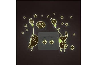 (Bear and Elephant) - BIBITIME Glow in Dark 2 Bulb Hanging Bear and Elephant in Full of Stars Sky Switch Sticker Cartoon Animal Wall Decals for Nursery Bedroom