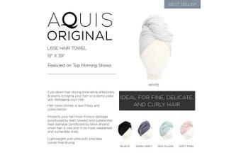 (48cm  x 100cm , Soft Pink) - AQUIS - Original Hair Towel, Ultra Absorbent & Fast Drying Microfiber Towel for Fine & Delicate Hair, Soft Pink (48cm x 100cm )