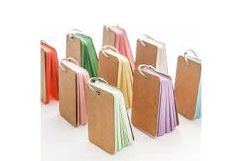 BinaryABC Study Cards, Mini Blank Flash Cards,Multicolor Card Kraft Paper with Metal Binder Ring,250 Pieces 5 Colour (Random Colour)