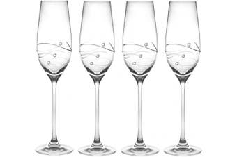 Barski - Handmade Glass - Sparkle - Champagne Flute Glass - Decorated with Real Diamonds - Gift Boxed - 210ml - Made in Europe - Set of 4