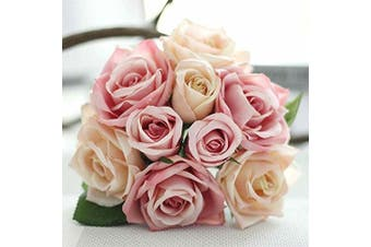 (1 bunch, Pink-champagne) - Artificial Flowers, Fake Flowers Silk Plastic Artificial Roses 9 Heads Bridal Wedding Bouquet for Home Garden Party Wedding Decoration (Pink Champagne)