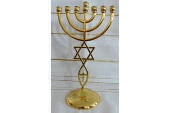 (Gold) - Jewish Messianic Temple Menorah 22cm Tall by Bethlehem Gifts TM (Gold)