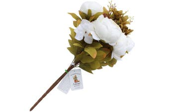 (White) - Luyue Vintage Artificial Peony Silk Flowers Bouquet, White
