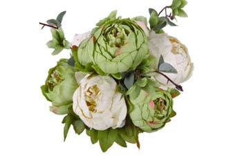 (New Green) - Luyue Vintage Artificial Peony Silk Flowers Bouquet, New Green