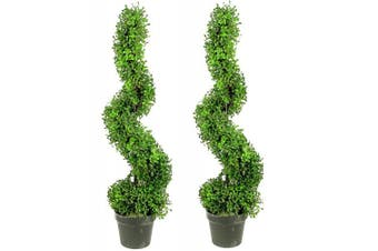 Admired by Nature 0.6m x 0.9m Aritificial Boxwood Leave Spiral Topiary Plant Tree in Plastic Pot, Green/Two-Tone
