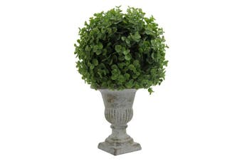 Admired By Nature GG7655-GREEN 33cm Tall Artificial Desktop Potted Eucalyptus Ball with Ceramic Pot, Green