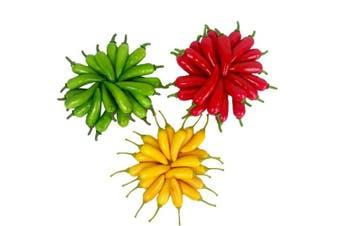 (60 Pcs) - 60Pcs Artificial Little Chilli Simulation Pepper Mini Three-Colour (Red + Yellow + Green) Small Hot Pepper Lifelike Fake Vegetable Home Decor Each Colour 20Pcs