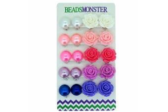 Colour Faux Pearl Rose Flower Clip On Earrings Gift For Little Teen Girls Womens