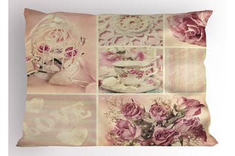 (80cm  W By 50cm  L, Multi 1) - Shabby Chic Pillow Sham by Ambesonne, Grandmother Mothers Day Vintage Themed Lace Cage Cups Flowers, Decorative Standard Queen Size Printed Pillowcase, 80cm X 50cm , Lilac Light Pink and White
