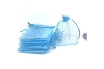 (Light Blue) - YIJUE 100pcs 7.6cm x 10cm Drawstrings Organza Gift Candy Bags Wedding Favours Bags (Light Blue)