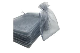 (Silver) - YIJUE 100pcs 10cm x 13cm Drawstrings Organza Gift Candy Bags Wedding Favours Bags (Silver)