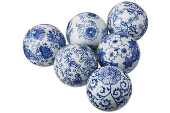 (6, White) - Oriental Furniture 7.6cm Blue & White Decorative Porcelain Ball Set(B)