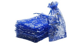 (Navy Blue with Silver) - YIJUE 100pcs 10cm x 15cm Drawstrings Organza Gift Candy Bags Wedding Favours Bags (Navy Blue with Silver)
