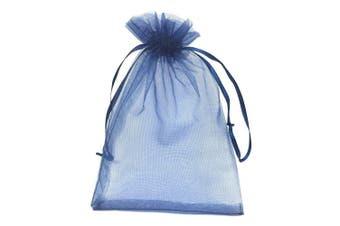 (Navy Blue) - YIJUE 100pcs 10cm x 15cm Drawstrings Organza Gift Candy Bags Wedding Favours Bags (Navy Blue)