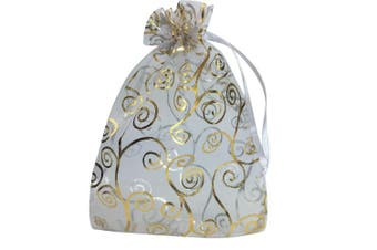 (White with Gold) - YIJUE 100pcs 10cm x 15cm Drawstrings Organza Gift Candy Bags Wedding Favours Bags (White with Gold)
