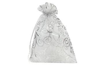 (White with Silver) - YIJUE 100pcs 10cm x 15cm Drawstrings Organza Gift Candy Bags Wedding Favours Bags (White with Silver)