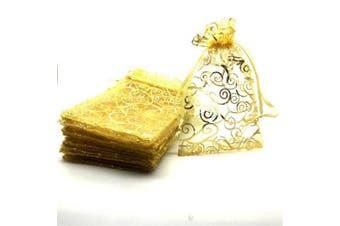 (Gold) - YIJUE 100pcs 10cm x 15cm Drawstrings Organza Gift Candy Bags Wedding Favours Bags (Gold)