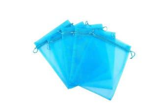 (lake blue) - Ankirol 100pcs Sheer Organza Favour Bags 7.6cm x 10cm Jewellery Candy Gift Bags Samples Display Drawstring Pouches (lake blue)