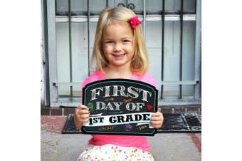 (1st Grade) - First Day of School Sign | Chalkboard Style | Preschool | Kindergarten | 1st Grade Plaque | Use as Photo Prop for a Boy or Girl | 25cm x 39cm (1st Grade)