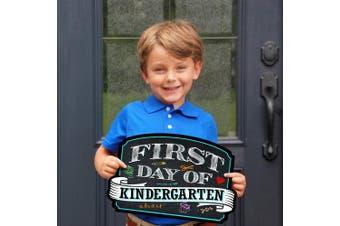 (Kindergarten) - First Day of School Sign | Chalkboard Style | Preschool | Kindergarten | 1st Grade Plaque | Use as Photo Prop for a Boy or Girl | 25cm x 39cm (Kindergarten)