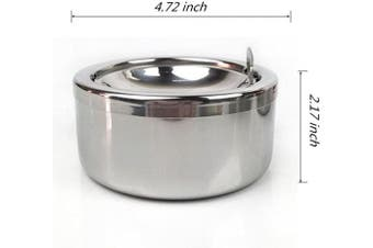 (Silver) - Kinger_Home Stainless Steel Ashtray with lid, Cigarette Ashtray for Indoor or Outdoor Use, Ash Holder for Smokers, Desktop Smoking Ash Tray for Home office Decoration (Silver)