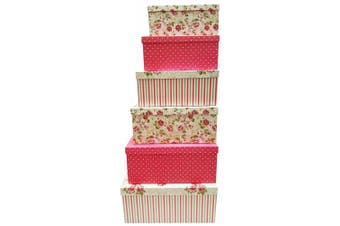 (Flower) - Alef Elegant Decorative Themed Extra Large Nesting Gift Boxes -6 Boxes- Nesting Boxes Beautifully Themed and Decorated - Perfect for Gifts or Simple Decoration Around the House! (Flower)