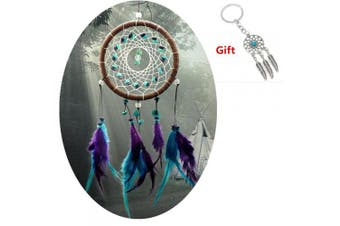 (Turquoise Stone Feather Dream Catcher) - AWAYTR Feathers Dream Catcher Gift Wall Decorations Bedroom Hanging Decor Home Ornament (Turquoise Stone Feather Dream Catcher)
