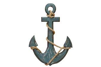 Benzara 91620 Wood Anchor with Rope Nautical Decor