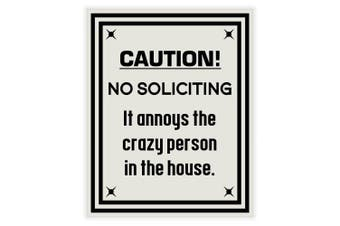 (Brushed Silver) - Caution No Soliciting Sign (Brushed Silver)