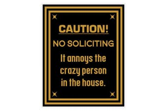 (Black-Gold) - Caution No Soliciting Sign (Black/Gold)