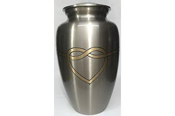 (Mixed) - Cremation Urn - Hugging Heart Funeral Urn for Human Ashes - Large Adult Size Burial Urn - 100% Brass (Mixed)