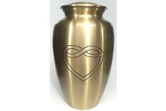 (Gold) - Cremation Urn - Hugging Heart Funeral Urn for Human Ashes - Large Adult Size Burial Urn - 100% Brass (Gold)