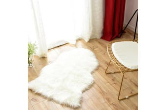 (0.6m x 0.9m, White) - Carvapet Luxury Soft Faux Sheepskin Chair Cover Seat Cushion Pad Plush Fur Area Rugs for Bedroom, 0.6m x 0.9m, White