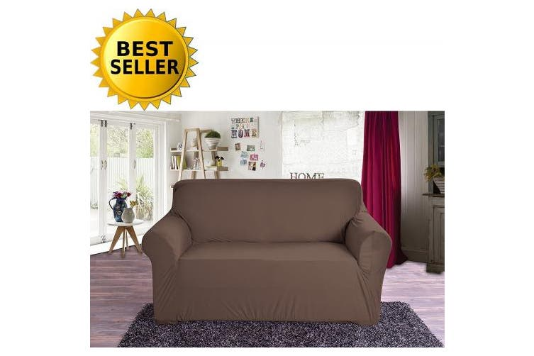 (Love Seat, Chocolate) - Elegant Comfort Collection Luxury Soft Furniture Jersey STRETCH SLIPCOVER, Loveseat Chocolate