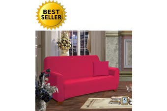 (Love Seat, Ruby) - Elegance Linen Collection Luxury Soft Furniture Jersey STRETCH SLIPCOVER, Loveseat Ruby