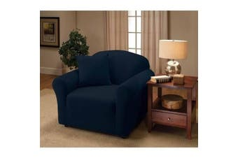 (Chair, Navy) - Madison Stretch Jersey Chair Slipcover, Solid, Navy