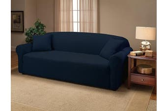 (Sofa, Navy) - Madison Stretch Jersey Sofa Slipcover, Solid, Navy