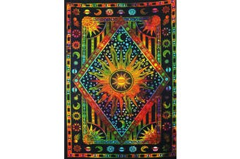 (Twin (54 X 84 inches approx)(137 X 213 cms), Orange Multi Color) - Tie Dye Psychedelic Celestial Sun Moon tapestry Bohemian Tapestry Wall Hanging Dorm Decor Boho Tapestry /Hippie Hippy Tapestry Beach Coverlet Curtain (Twin (140cm X 210cm approx, Orange