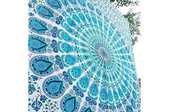 (Twin(54x72Inches)(140x185cms), Peacock Sky Blue) - Bless International Indian hippie Bohemian Psychedelic Peacock Mandala Wall hanging Bedding Tapestry (Peacock Sky Blue, Twin(54x72Inches)(140x185cms))