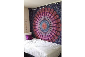 (Twin(54x72Inches)(140x185cms), Purple Pink) - Bless International Indian hippie Bohemian Psychedelic Peacock Mandala Wall hanging Bedding Tapestry (Purple Pink, Twin(54x72Inches)(140x185cms))