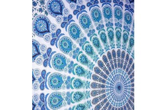 (Queen(84x90Inches)(215x230Cms), Peacock Sky Blue) - Bless International Indian hippie Bohemian Psychedelic Peacock Mandala Wall hanging Bedding Tapestry (Peacock Sky Blue, Queen(84x90Inches)(215x230Cms))