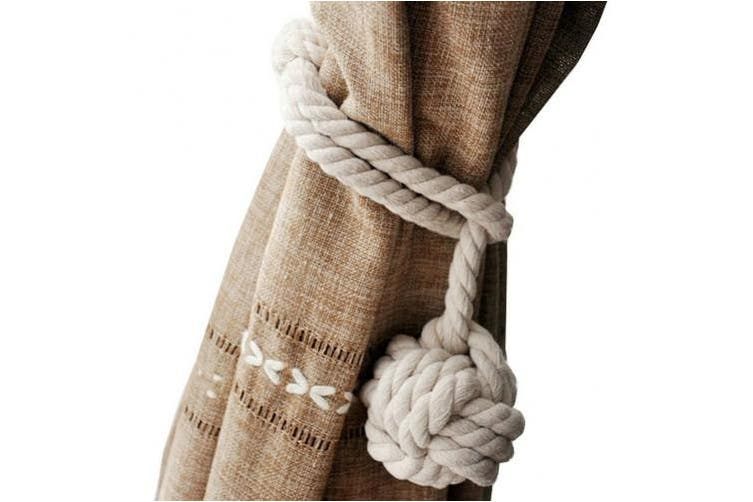 (Beige) - Loghot Hand Knitting Curtain Rope Cord Rural Cotton Tie Backs with Single Ball (Beige)