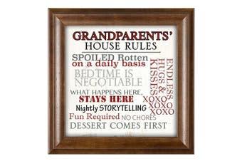 (Mocha Wood - Grandparents Rules) - Grandparents' House Rules 12 x 12 Woodgrain Framed Wall Art Plaque