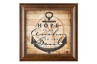 (Mocha Wood - Hope Anchor) - Hope Is An Anchor Inspirational 12 x 12 Woodgrain Framed Wall Art Plaque