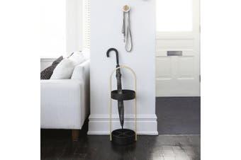 (Black / Walnut) - Umbra 320240-048 Hub Umbrella Stand Black/Walnut, 68x24.69x22.4 cm
