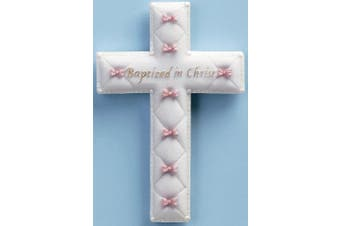 "(Baby Girl - Pink) - Baby Nursery ""Baptised in Christ"" Baptism Wall Cross (Baby Girl - Pink)"