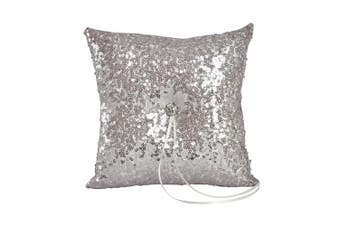 (RING PILLOW, SHINY SILVER) - Ivy Lane Design Elsa Shiny Sequin Ring Pillow, Silver