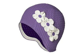 (Lavender with White Flowers) - Beemo Swim Bathing Caps for Women & Girls - Retro Style Latex Bubble Crepe Swimming Hat with 3 Flowers for Long/Short Hair